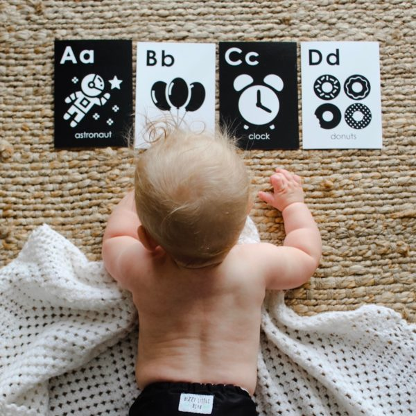 black and white baby flash cards Alphabet